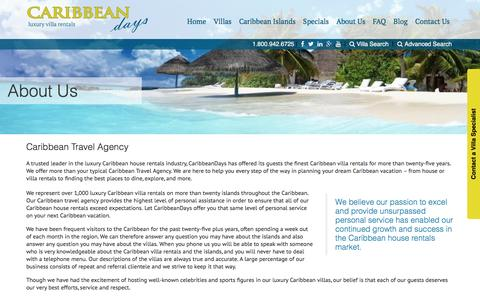 Screenshot of About Page caribbeandays.com - Caribbean Travel Agency | CaribbeanDays - captured July 11, 2016