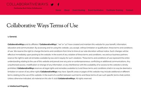 Screenshot of Terms Page collaborativeways.com - Terms of Use – CollaborativeWays - captured July 15, 2016