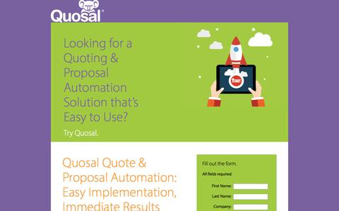 Screenshot of Landing Page quosal.com - Quote & Proposal Automation: Easy Implementation | Quosal - captured Dec. 11, 2015