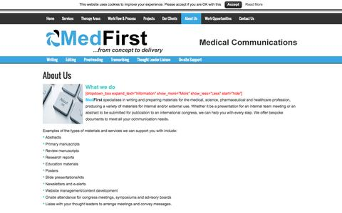 Screenshot of About Page medfirst.co.uk - MedFirst - medical communications for healthcare professionals and organisations - captured Oct. 27, 2014