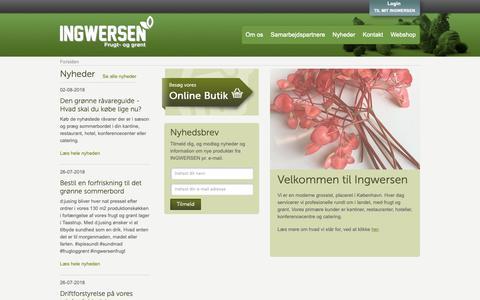Screenshot of Home Page ingwersen.dk - Frugt & Grønt levering til kantiner, frokostordning mm. - captured Oct. 11, 2018