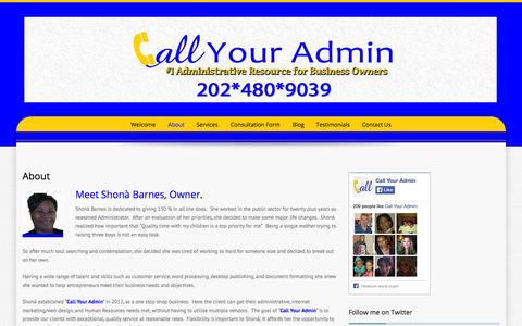 Screenshot of About Page callyouradmin.com - About | Call Your Admin - captured Sept. 27, 2014