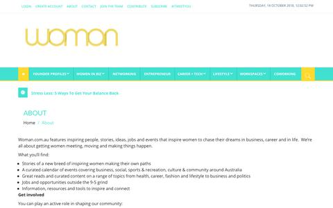 Screenshot of About Page woman.com.au - About woman.com.au - captured Oct. 18, 2018