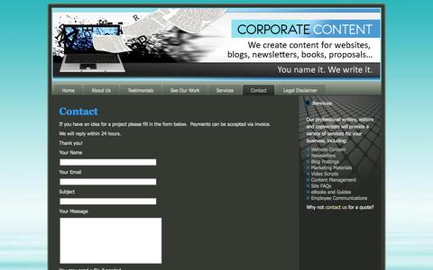 Screenshot of Contact Page corporatecontent.com - Contact Susan Parker | We create content for websites, blogs, newsletters, books, proposals... - captured Oct. 3, 2014