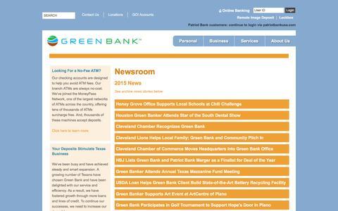 Screenshot of Press Page greenbank.com - Green Bank | Newsroom - captured Feb. 2, 2016
