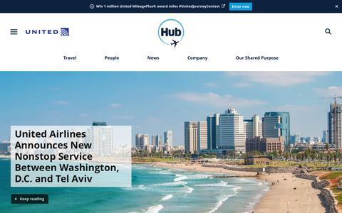 Screenshot of Press Page united.com - United Hub - Newsroom - captured Aug. 15, 2018