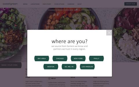 Screenshot of Menu Page sweetgreen.com - menu | sweetgreen - captured April 25, 2018