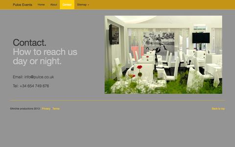 Screenshot of Contact Page pulce.co.uk - Pulce Events-contact - Event Management Company – Expert Planners of Events for Luxury Events - captured Oct. 3, 2014