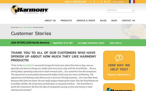 Screenshot of Testimonials Page harmony1.com - Harmony Enterprises Reviews, Testimonials, and Customer Stories - captured June 26, 2017