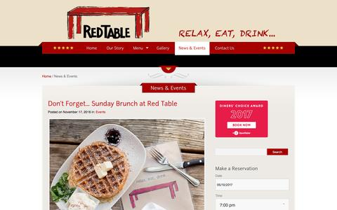 Screenshot of Press Page redtablerestaurants.com - Red Table Restaurant  Join us at Red Table Restaurant for fun event all year long. - captured May 11, 2017