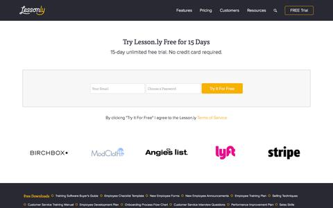 Screenshot of Signup Page Trial Page lesson.ly - Sign Up - Lesson.ly - captured Oct. 1, 2015
