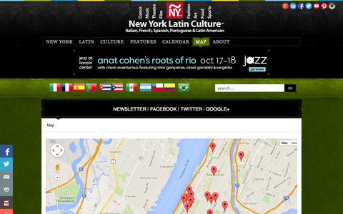 Screenshot of Maps & Directions Page newyorklatinculture.com - New York Latin Culture Map - captured Oct. 1, 2014