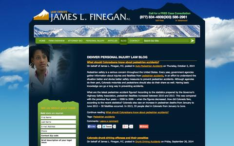 Screenshot of Blog fineganlaw.com - Denver Personal Injury Law Blog | James L. Finegan, P.C. - captured Oct. 6, 2014