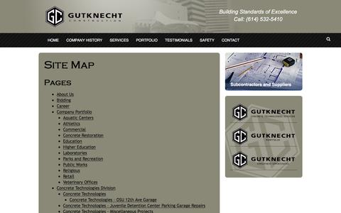 Screenshot of Site Map Page gutknecht.com - Site Map - Gutknecht Construction - captured Feb. 2, 2016