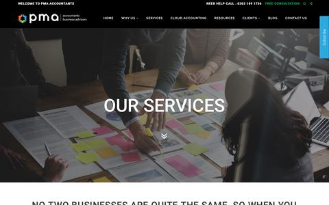 Screenshot of Services Page pmaaccountants.co.uk - Services » PMA - captured May 13, 2017