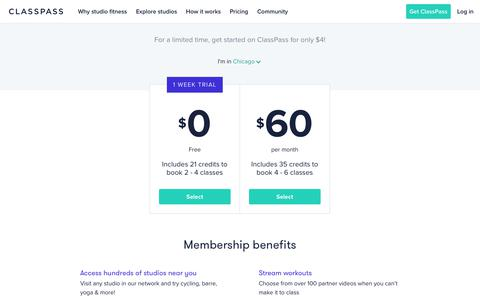 Screenshot of Pricing Page classpass.com captured March 12, 2018