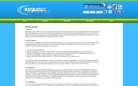 Screenshot of Terms Page essentialpest.com - Terms of Use - Essential Pest Management - captured Nov. 2, 2014