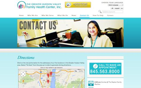 Screenshot of Maps & Directions Page ghvfhc.org - Directions | Greater Hudson Valley Family Health Center | Highland Falls, Orange County, NY  | Greater Hudson Valley Family Health Center - captured Oct. 3, 2014