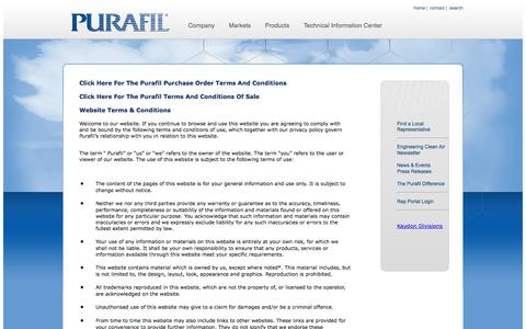 Screenshot of Terms Page purafil.com - Terms & Conditions - captured Oct. 3, 2014