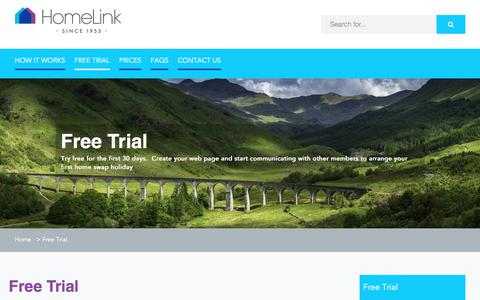 Screenshot of Trial Page homelink.org.uk - Free Trial - captured Aug. 26, 2017