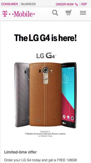 LG G4 Smartphone w/ Free 128 MicroSD Card | LG G4 Release | T-Mobile