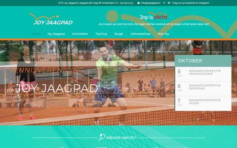 Screenshot of Home Page joyjaagpad.nl - Tennisvereniging Joy Jaagpad – De tennisclub van Amsterdam - captured Oct. 2, 2018