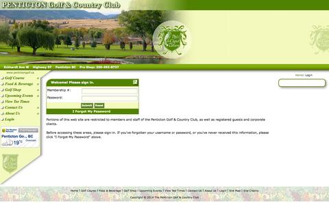 Screenshot of Login Page pentictongolf.ca - Staff  & Client Login The Penticton Golf & Country Club - captured Sept. 25, 2014