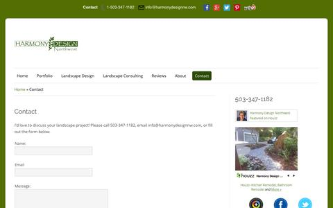 Screenshot of Contact Page harmonydesignnw.com - Contact | Harmony Design Northwest - captured Jan. 26, 2016
