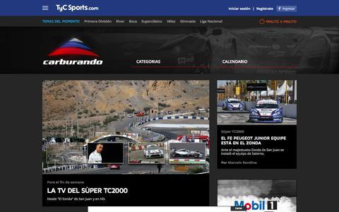 Screenshot of Home Page carburando.com - Carburando   TyC Sports.com - El canal argentino líder del deporte - captured Oct. 3, 2014