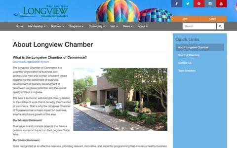 Screenshot of About Page longviewchamber.com - About Longview Chamber | Longview Chamber of Commerce | Longview, Texas - captured Sept. 8, 2017