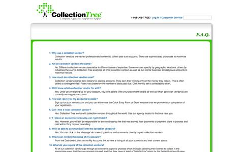 Screenshot of FAQ Page collectiontree.com - Collection Agency Questions and Answers - captured Oct. 22, 2014