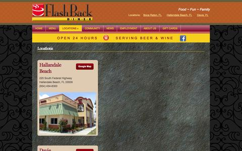Screenshot of Locations Page flashbackdiner.com - Locations | Flashback Diner - captured Sept. 30, 2014