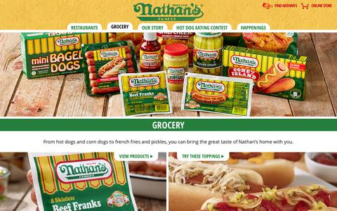 Screenshot of Products Page nathansfamous.com - Nathan's Famous - captured Oct. 31, 2014