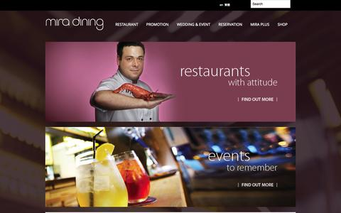 Screenshot of Home Page miradining.com - mira dining - The Food and Beverage business of Miramar Group in Hong Kong and China - captured Sept. 24, 2014