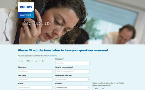 Screenshot of Landing Page philips.com - Contact us | Philips - captured Dec. 31, 2016