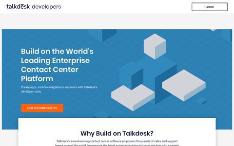 Screenshot of Developers Page talkdesk.com - Developers | Talkdesk - captured May 23, 2018