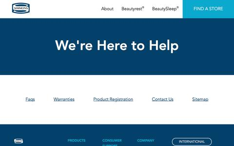 Screenshot of Support Page simmons.com - Simmons Support | FAQs and Warranties | Simmons - captured July 4, 2017