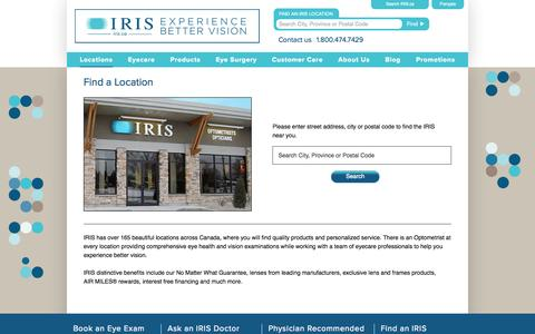 Screenshot of Locations Page iris.ca - Find a location | Optometrists & Opticians – IRIS Canada - captured Sept. 19, 2014