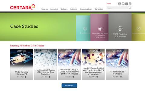 Screenshot of Case Studies Page certara.com - Case Studies - captured Dec. 8, 2015