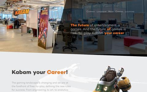 Screenshot of Jobs Page kabam.com - Careers - Corporate Kabam - captured Sept. 19, 2017