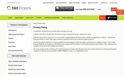 Screenshot of Privacy Page netdryers.com - Privacy Policy | NetDryers - captured Feb. 16, 2016