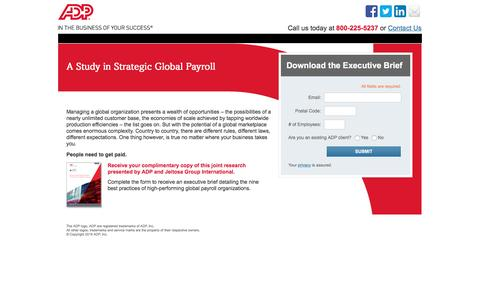 Screenshot of Landing Page adp.com - A Study in Strategic Global Payroll - captured Aug. 18, 2016