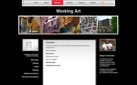 Screenshot of Contact Page working-art.com - Contact | Working Art - captured Oct. 7, 2014