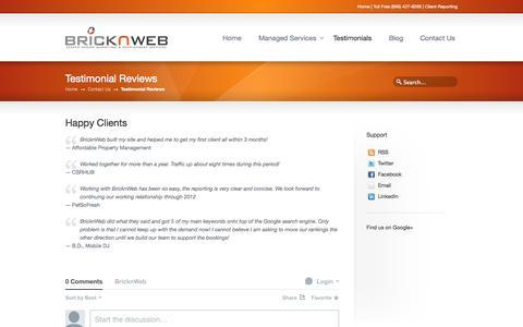 Screenshot of Testimonials Page bricknweb.com - Testimonial Reviews   BricknWeb - captured Sept. 30, 2014