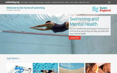 Screenshot of Home Page swimming.org - The Home of Swimming | The UK swimming resource from Swim England - captured Oct. 18, 2018