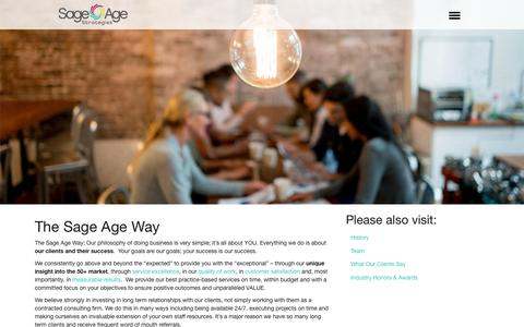 Screenshot of About Page sageagestrategies.com - The Sage Age Way | Sage Age Strategies - captured June 28, 2018
