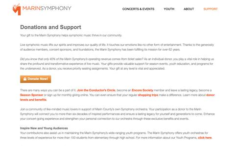 Screenshot of Support Page marinsymphony.org - Donations and Support - Marin Symphony - captured Oct. 2, 2018