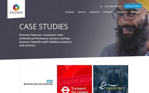 Screenshot of Case Studies Page kallidus.com - Kallidus customer case studies | Clients share their success stories - captured Jan. 9, 2016