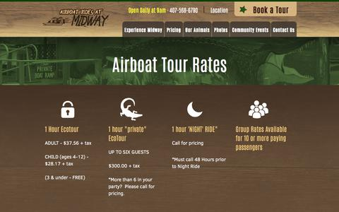 Screenshot of Pricing Page airboatridesatmidway.com - View pricing and information on our airboat tours below - captured July 29, 2018