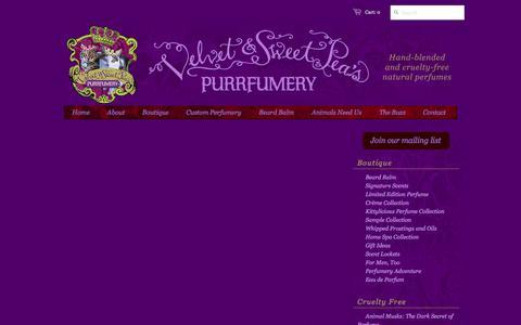 Screenshot of Press Page purrfumery.com - News – Velvet & Sweet Pea's Purrfumery - captured Oct. 20, 2017